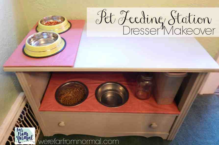 Transform an old dresser into a DIY pet feeding station for your furry friends! Keep everything organized and looking lovely!