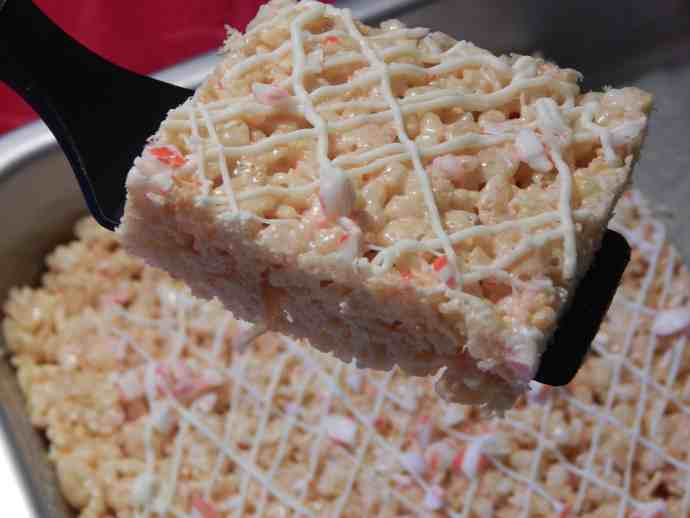 white chocolate and peppermint rice krispie treats