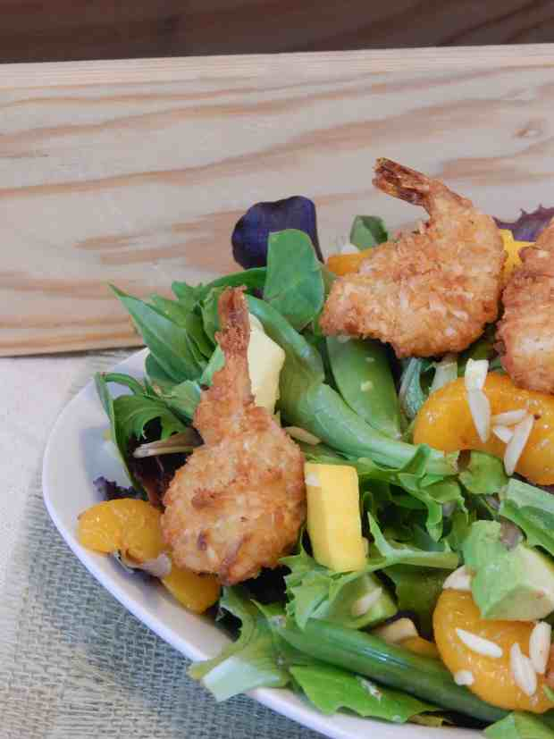 Tropical shrimp salad with sweet chili dressing