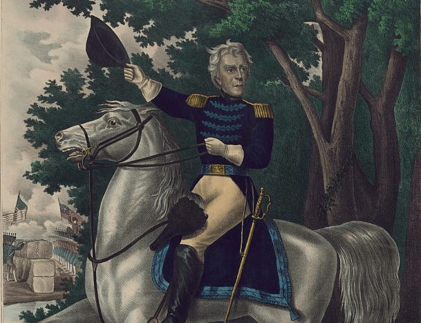Andrew Jackson with the Tennessee forces on the Hickory Grounds