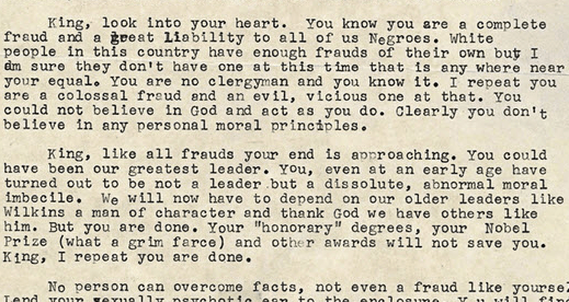 Excerpt of letter sent to MLK from FBI