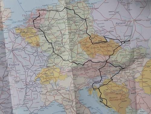 Interrail route door Europa