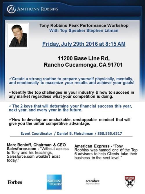 Tony Robbins Workshop Flyer