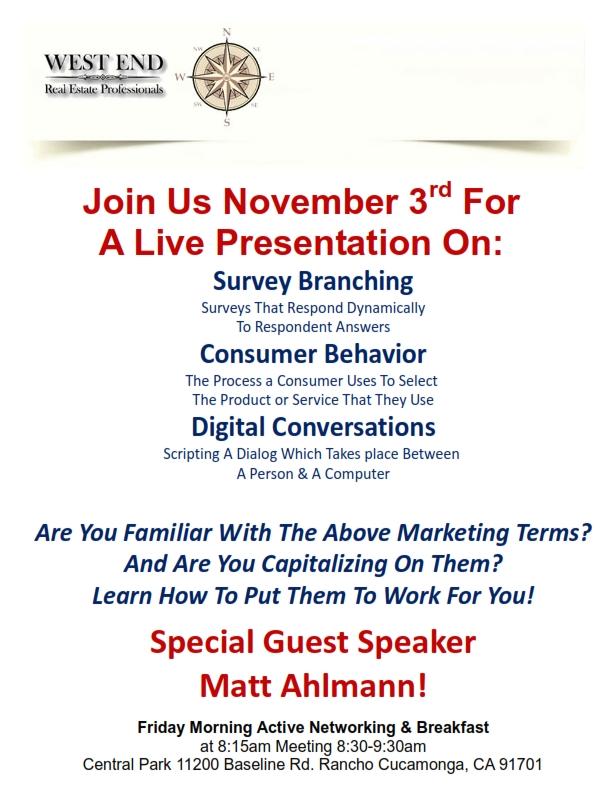 Special Guest Speaker: Matt Ahlmann!   November 3, 2017