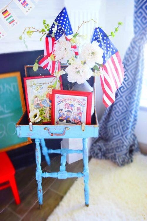 Antique distressed suitcase table patriotic decor