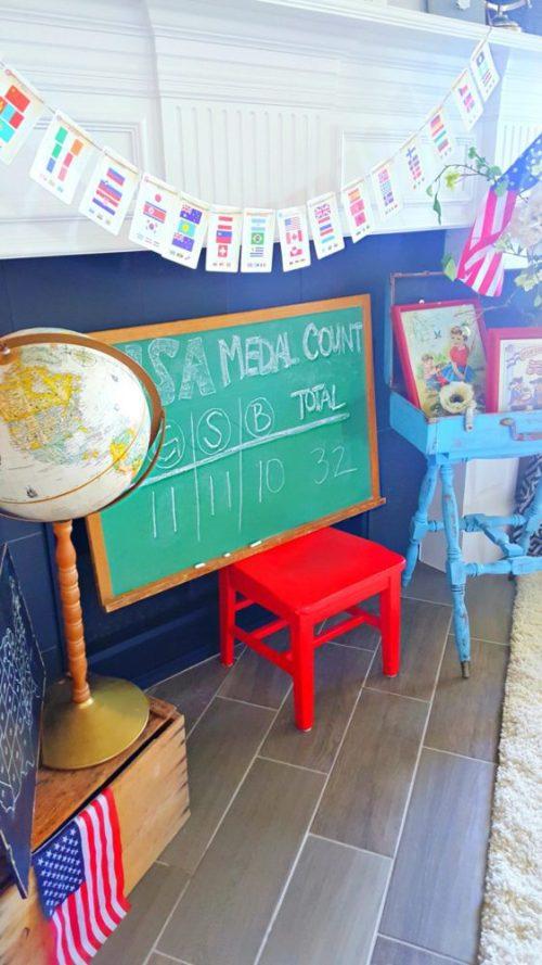 Vintage Schoolhouse Chalkboard and Vintage Globe