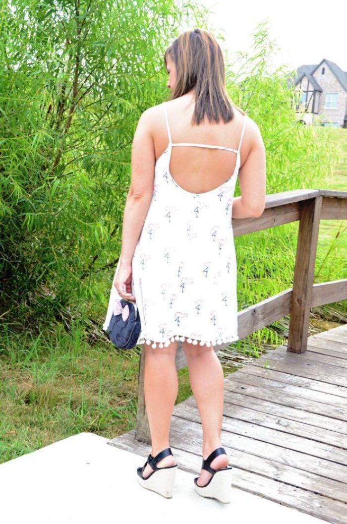 back of flamingo dress
