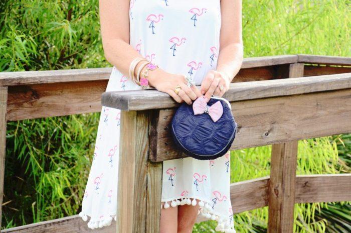 lisbeth dahl coin purse and flamingo dress