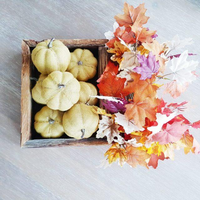 Fall Maple Burlap Leaves and Burlap Pumpkins and Crate
