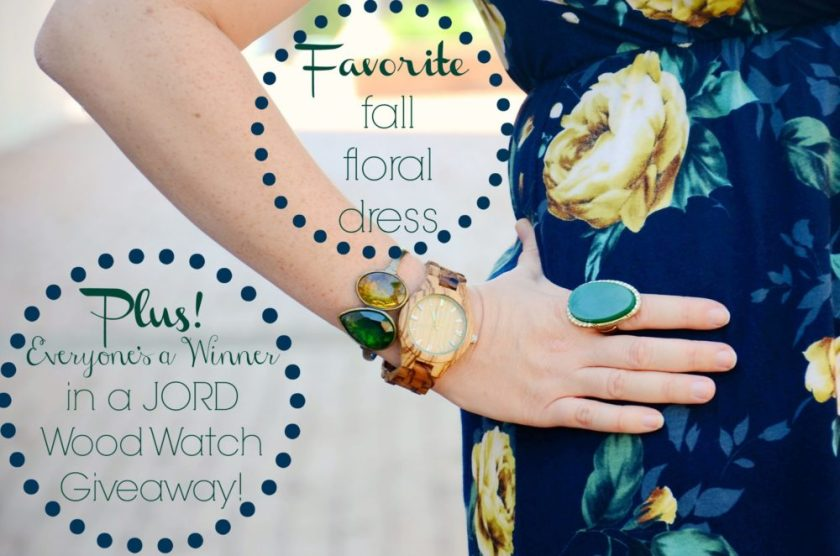 Favorite Fall Floral Midi Dress Plus JORD Wood Watch Giveaway