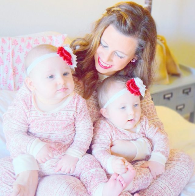 merichelle-genevieve-and-georgia-matching-christmas-pajamas-family-christmas-pictures