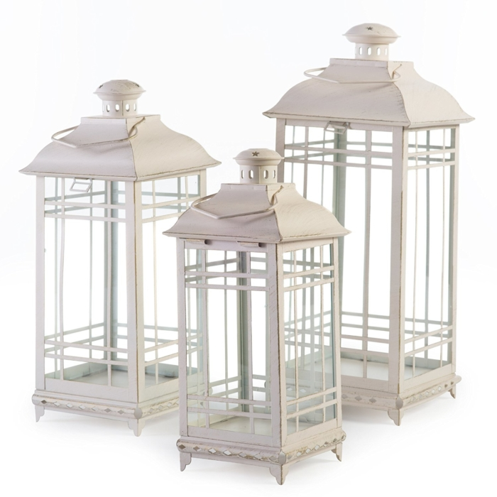 Antique White Off White Candle Lanterns Set of 3