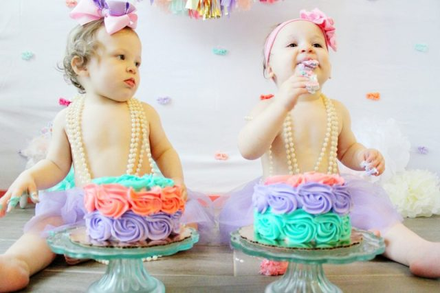 Twin Girls Cake Smash Mint Coral Lavender Gold Theme