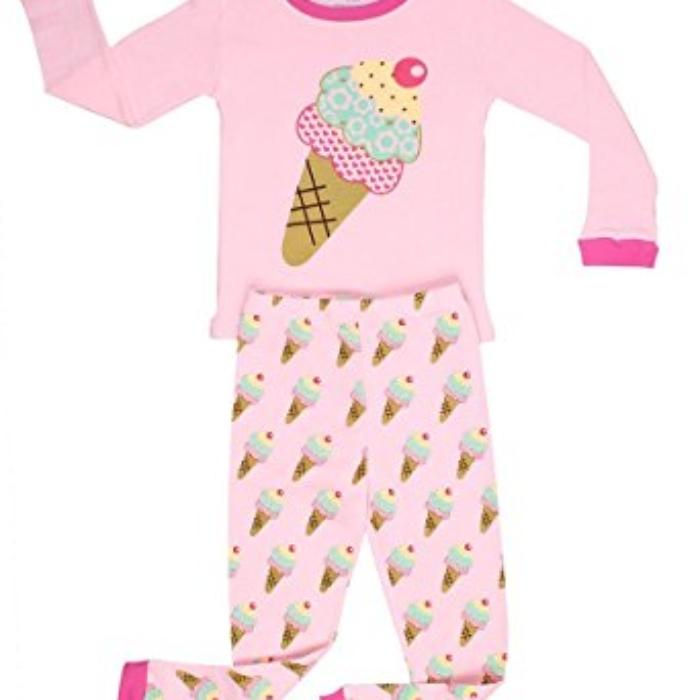 Elowel Little Girls Ice Cream 2 Piece Pajama Set
