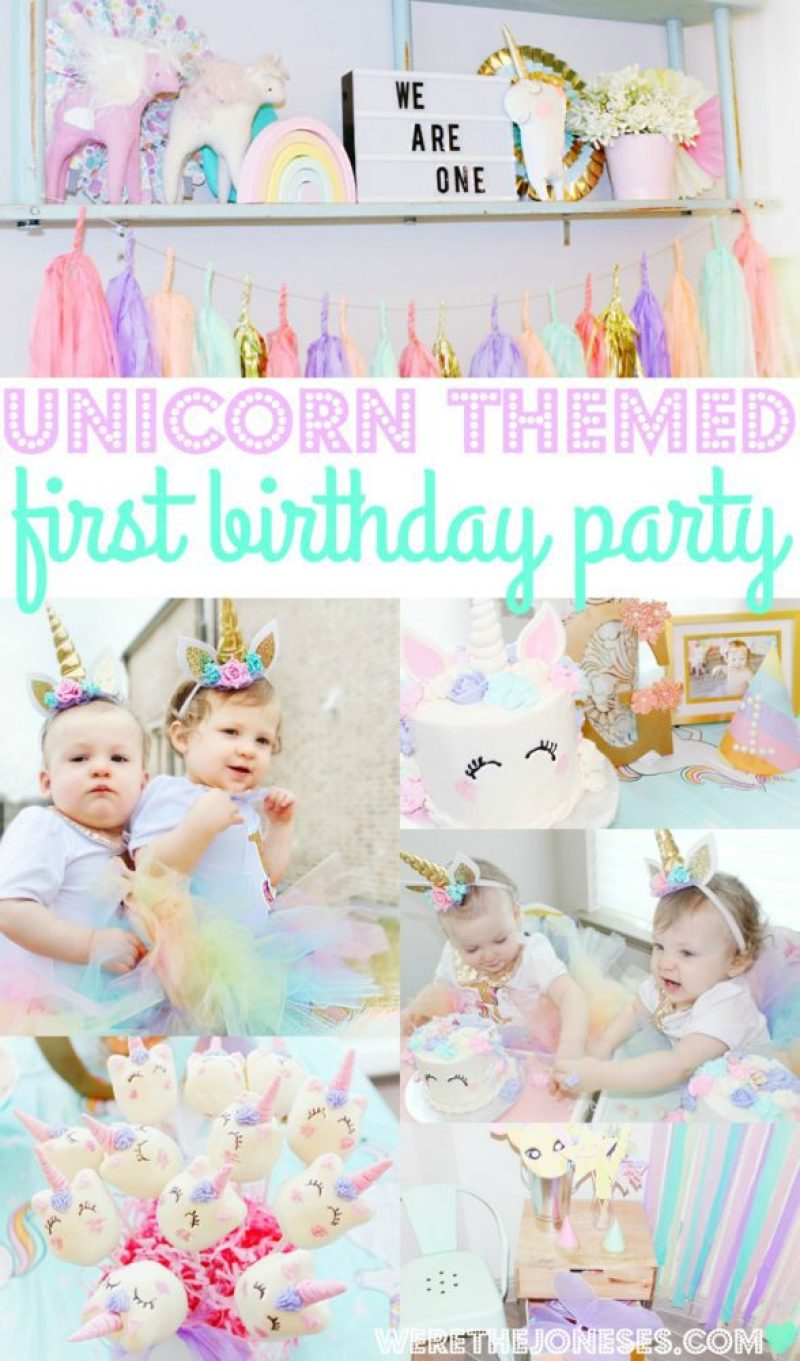 Unicorn 1st Birthday Party Decorations With A First Cake And Headband The
