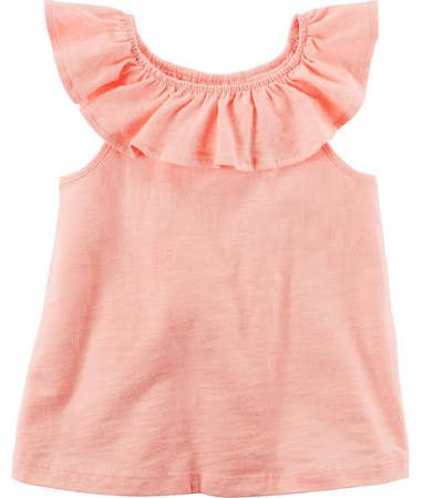 peach coral little girls ruffle tank