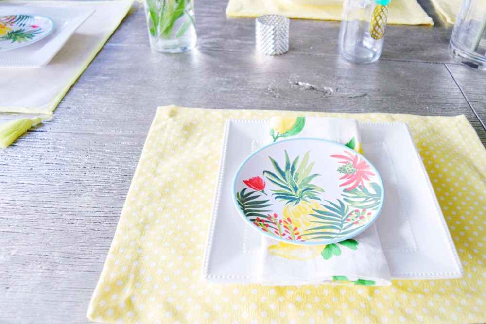Summer Table Deor Flamingo Pineapple Lemon Tropical Decor