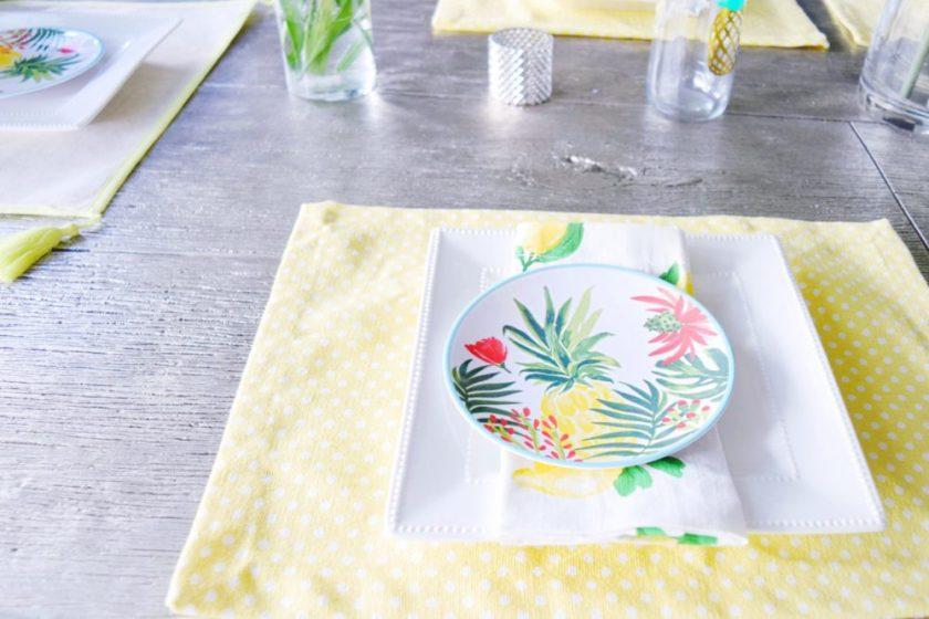 Summer Table Deor Flamingo Pineapple Lemon Tropical Decor