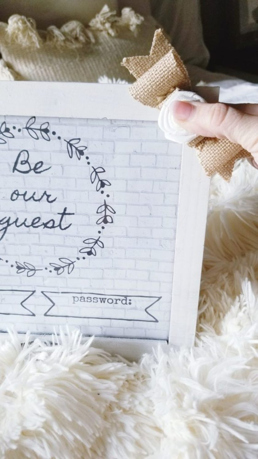 Be Our Guest Wifi Frame DIY Burlap Bow