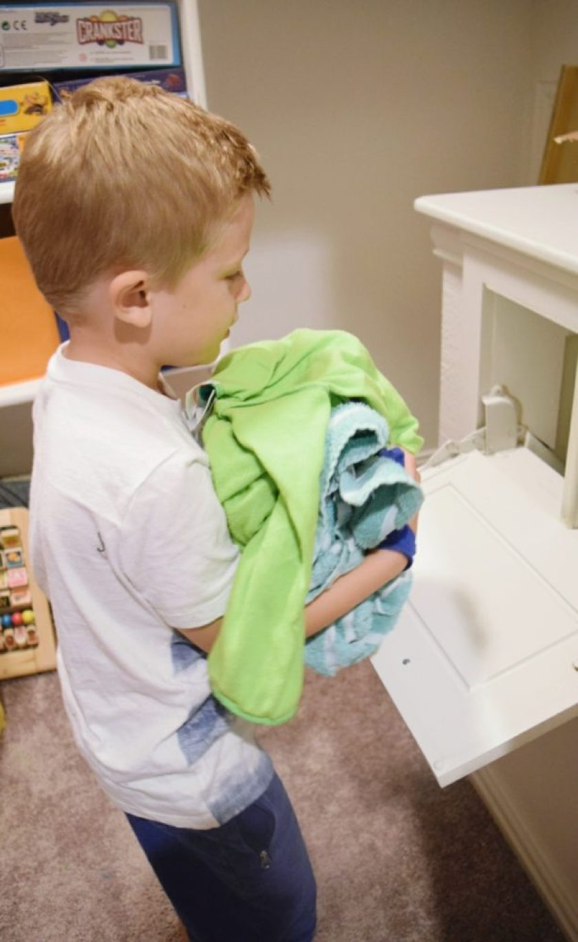 Who loves Laundry Day?? It's no secret in my family that laundry is one of my least favorite chores, but I have a couple tricks to help get me through it! As a family of five, we have to come up with creative ways to stay on top of laundry so it doesn't turn into a never-ending laundry mound. Here are some simple tips that help our family get through laundry day a little easier, and hopefully will for you too!