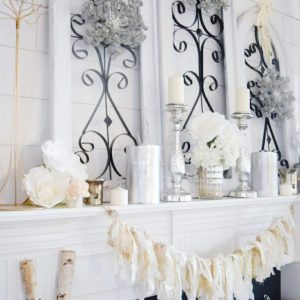 cozy winter and glam mantle