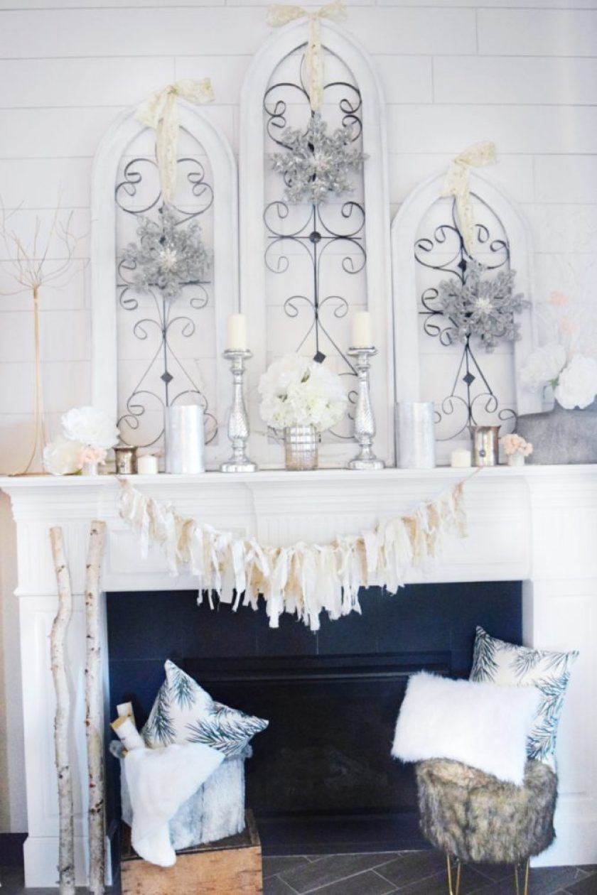 winter mantle cozy glam winter decor