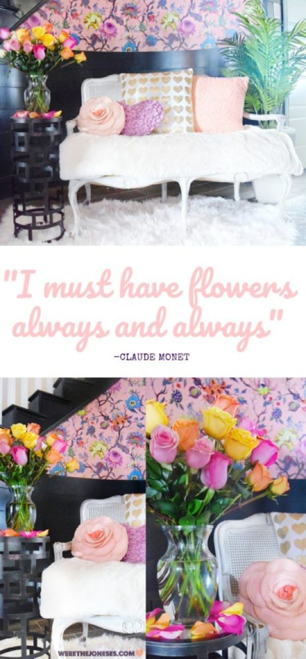I must have flowers always and always quote claude monet floral wallpaper colorful walls anthropologie wallpaper artemis wallpaper pink wallpaper colorful roses entryway decor entryway ideas foyer decor foyer wallpaper ideas