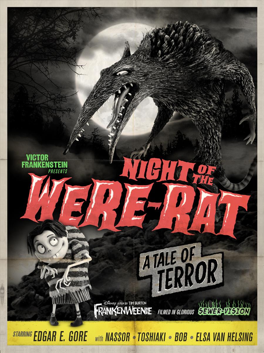 See Frankenweenie S Night Of The Were Rat Creature Feature Poster Werewolf News
