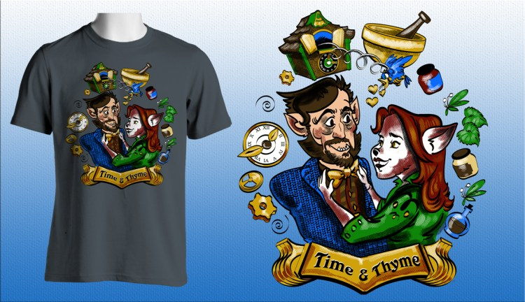 """Grimm's Monroe & Rosalee """"Time and Thyme"""" shirt design featured image"""