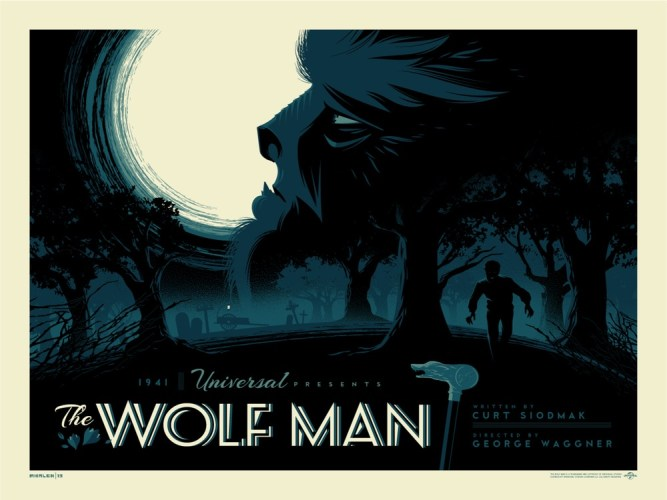 "Moody & beautiful ""THE WOLF MAN"" print from Tom Whalen on sale today featured image"