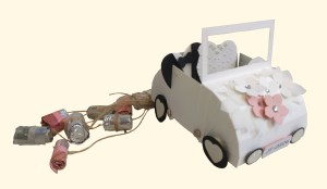 Hochzeitsauto aus Papier – cabrio mit Geldgeschenk