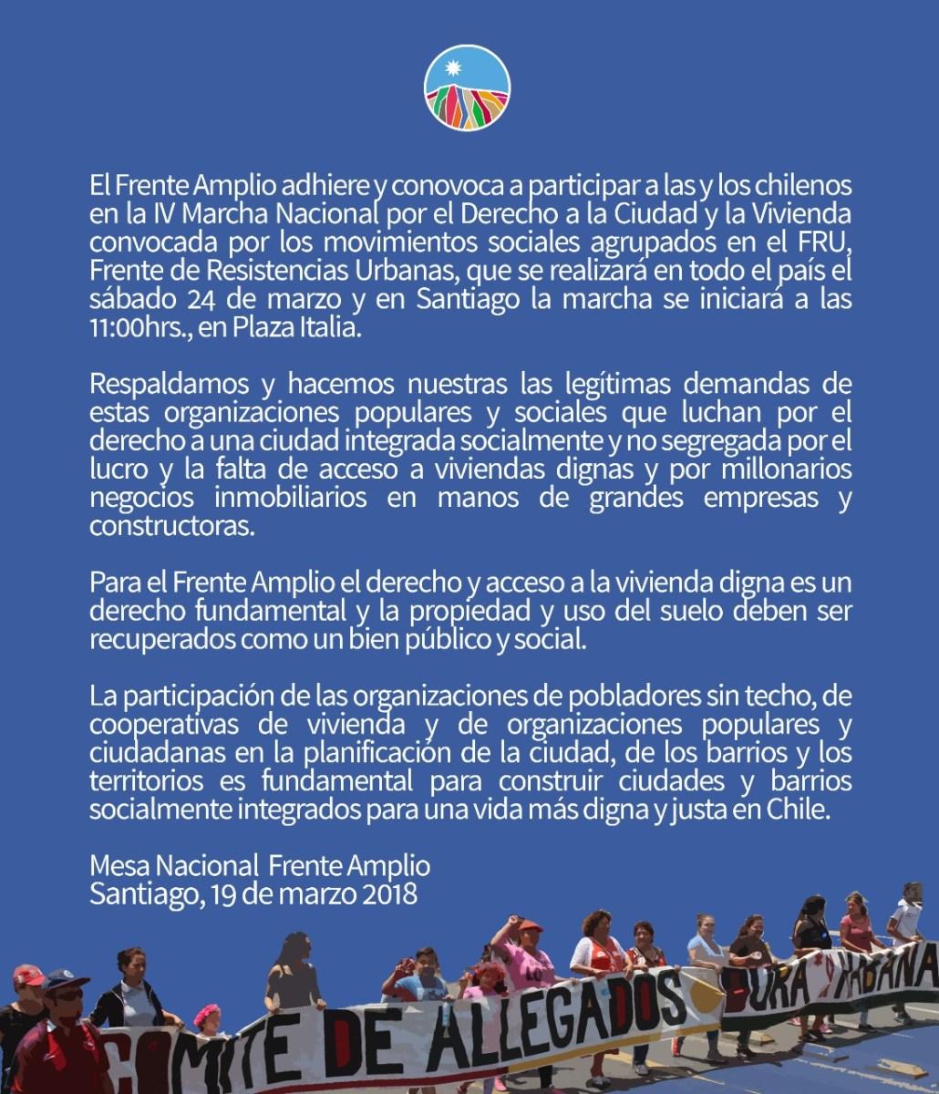 Chile - IV Marcha Nacional por el Derecho a la Ciudad y la Vivienda,  sábado 24 de marzo