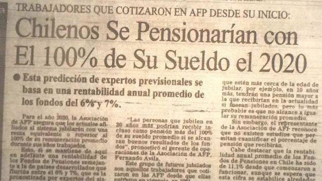 Chile - Las pensiones de las AFP cada vez son de montos menores