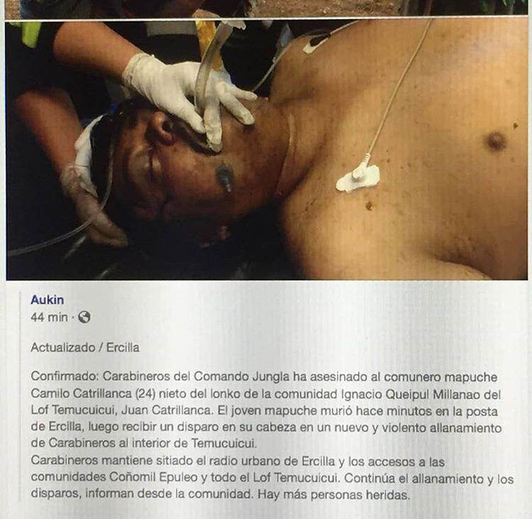 Allendistas condenan asesinato de Camilo Catrillanca y exigen la renuncia del Ministro del  Interior Andres Chadwik como responsable político.