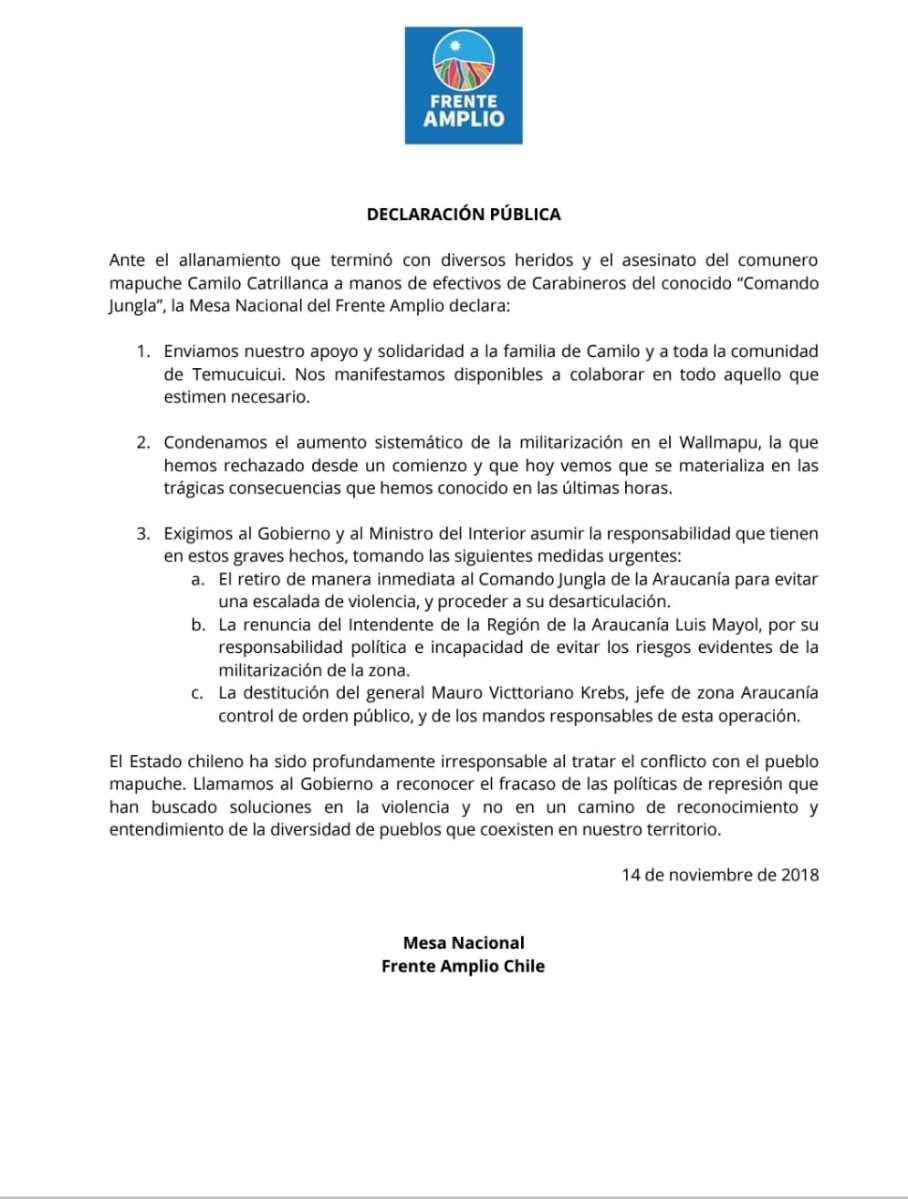 Declaración del Frente Amplio ante los graves hechos de violencia en que resultó muerto Camilo Catrillanca