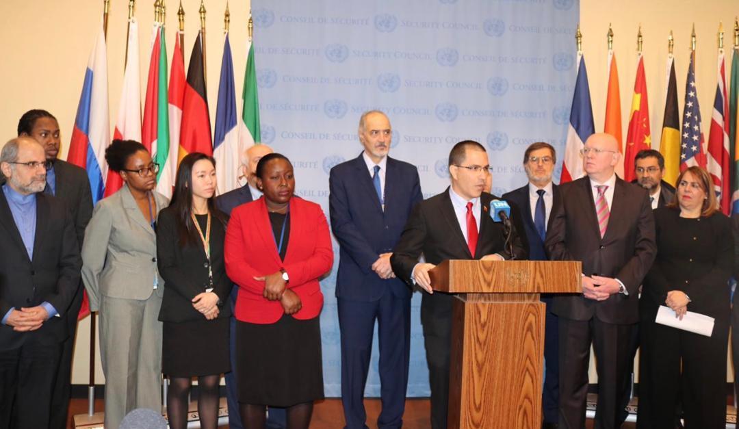 Canciller Arreaza junto a embajadores de Rusia, China, Cuba y otros, anuncia en la ONU iniciativa diplomática en defensa del derecho internacional