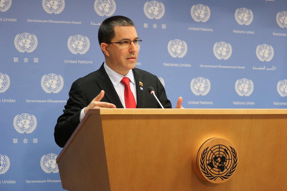 Canciller de Venezuela, Jorge Arreaza  desde la ONU lanza campaña mundial sobre las consecuencias del bloqueo de EEUU contra Venezuela