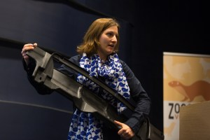 Anja Tierärtzlicht Hochschule, Büsum) shows a plastic engine cover found inside a sperm whale's stomach.
