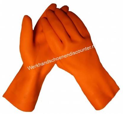 Handschoen MAPA Industrial 299 latex oranje lengte 36 cm met vlokvoering