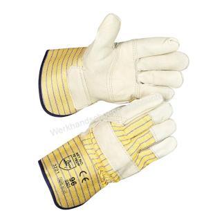 Werkhandschoenendiscounter rund/boxleder met palmversterking en geel/blauw streepdoek en 10 cm kap. Beschikbaar in maten 10,5 Type: Boxleer