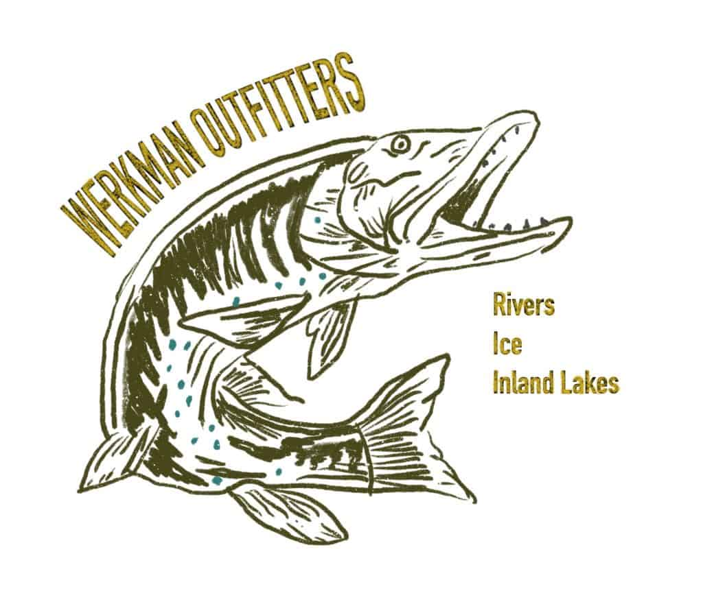 Northern Pike Drawing with Werkman Outfitters Logo