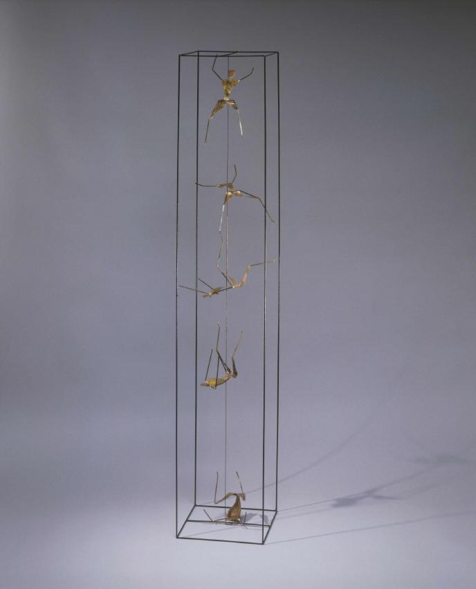 Sculpture de Guillaume Werle, La Chute, acier, laiton, bronze