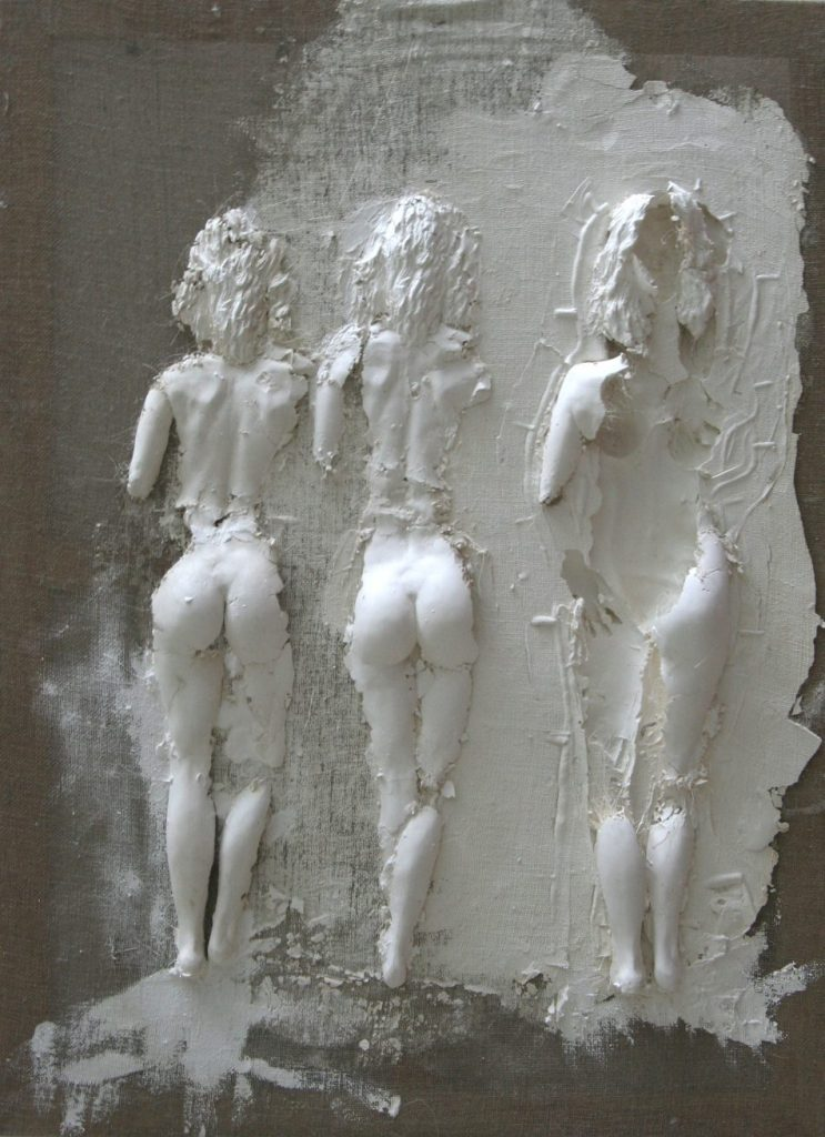 Sculpture en plâtre toile de lin et châssis bois, Promenade, de Guillaume Werle