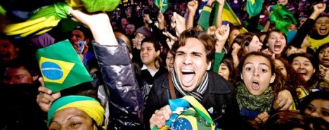 A Brazilian celebrates in Copenhagen after Rio de Janeiro won the right to host the 2016 Olympics.