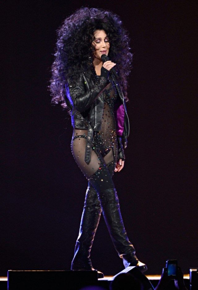 """Cher doing """"If I Could Turn Back Time""""."""