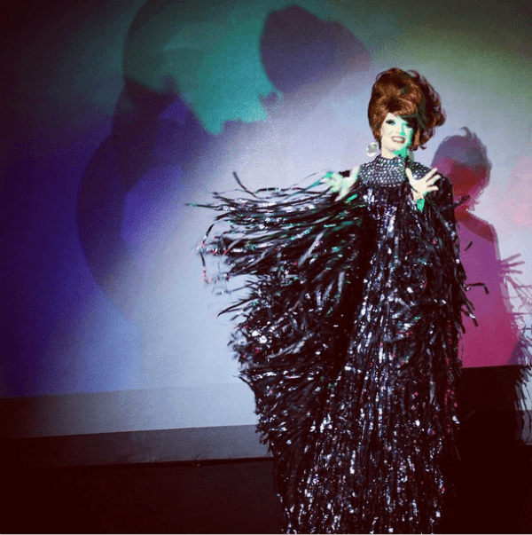 Winged stilts number from BOTS before costume change, Photo by Drag Coven