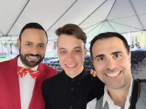 Spencer with Nick Verreos (L) and his partner David Paul (R)