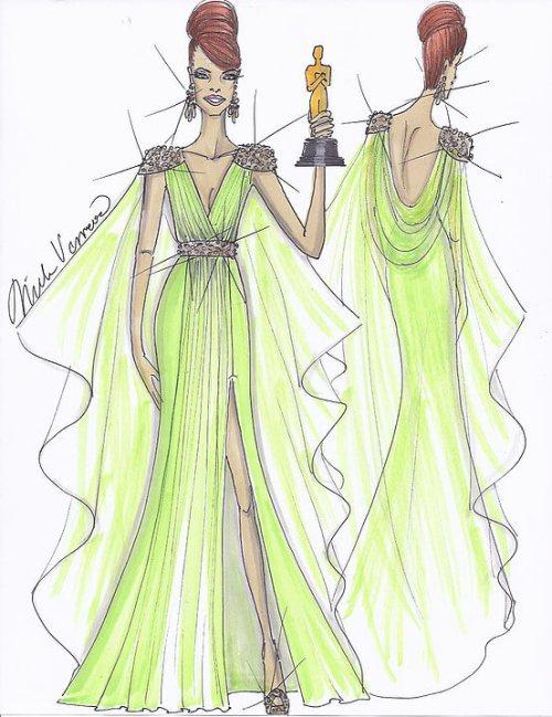 Concept Sketch of Viola Davis at the Emmys