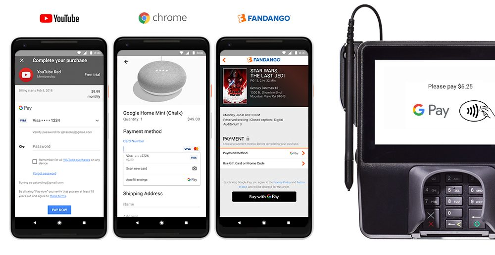 wersm google pay youtube red google home fandango instores