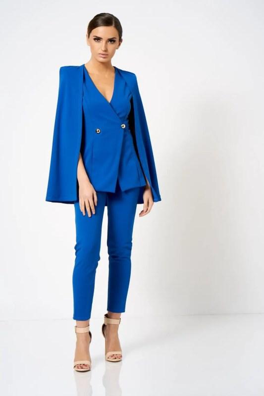 wersm blue blazer with cape detail
